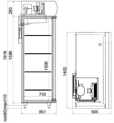 Креслення шафи Polair DM 114 SD-S