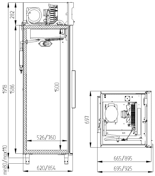 Креслення шафи Polair CV 105-S