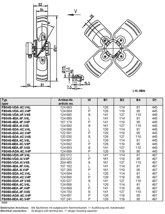 Осевой вентилятор Ziehl-abegg  FB050-ADA.4C.V4P