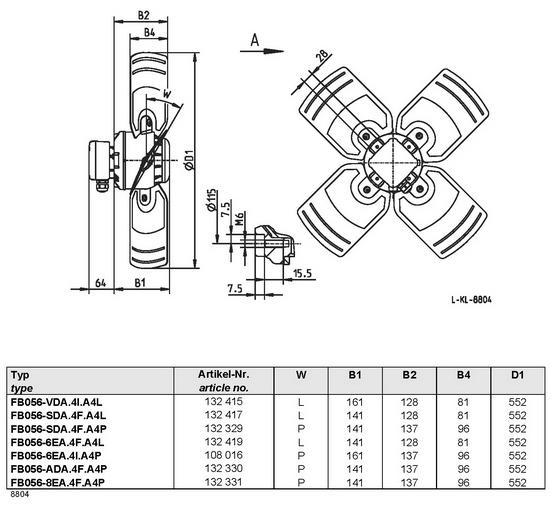Осевой вентилятор Ziehl-abegg  FB056-8EA.4F.A4P