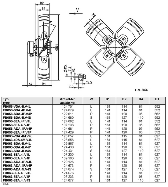 Осевой вентилятор Ziehl-abegg  FB056-8EA.4F.V4P