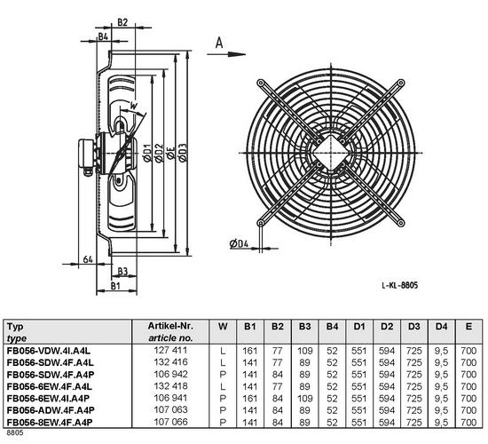 Осевой вентилятор Ziehl-abegg  FB056-8EW.4F.A4P